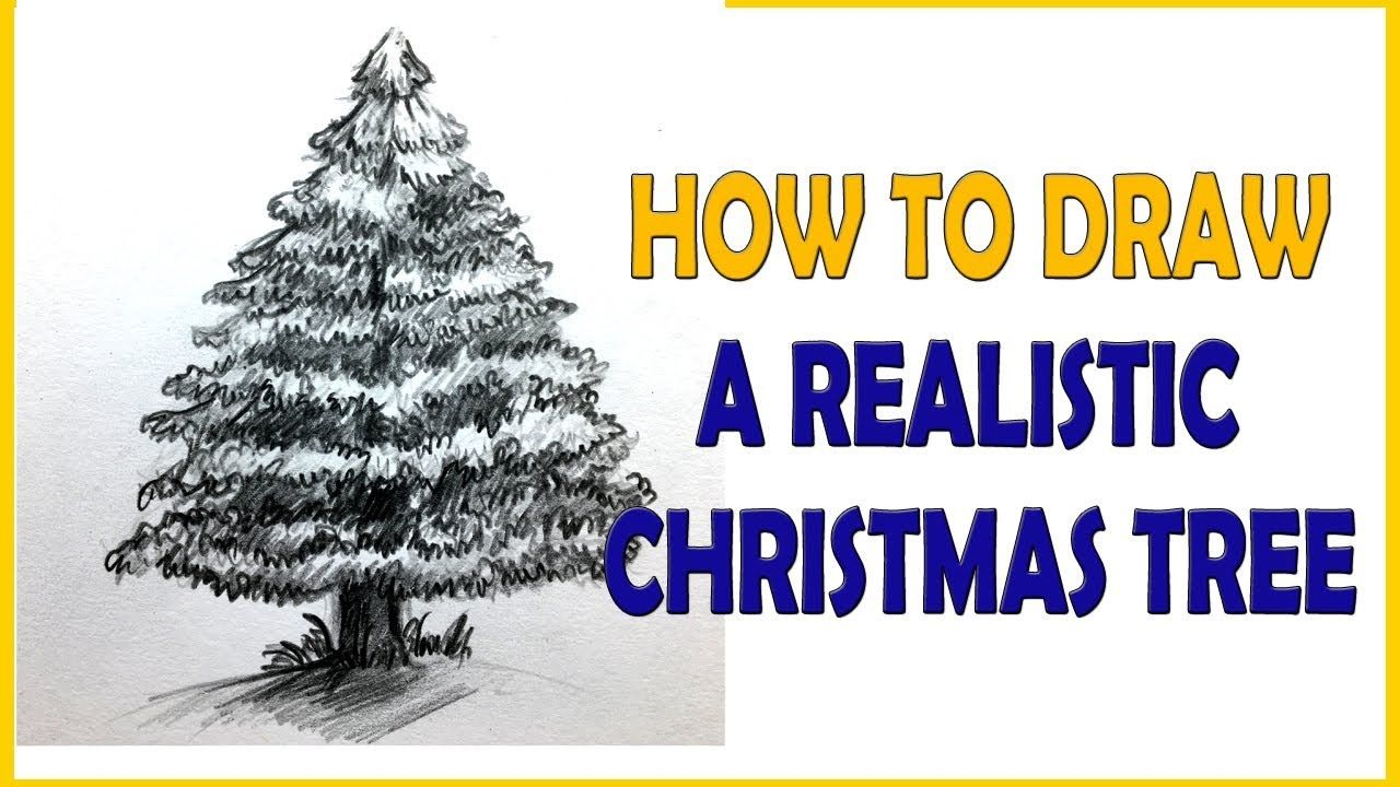 How To Draw A Realistic Christmas Tree Tutorial Realistic Christmas Trees Drawings Christmas Drawing