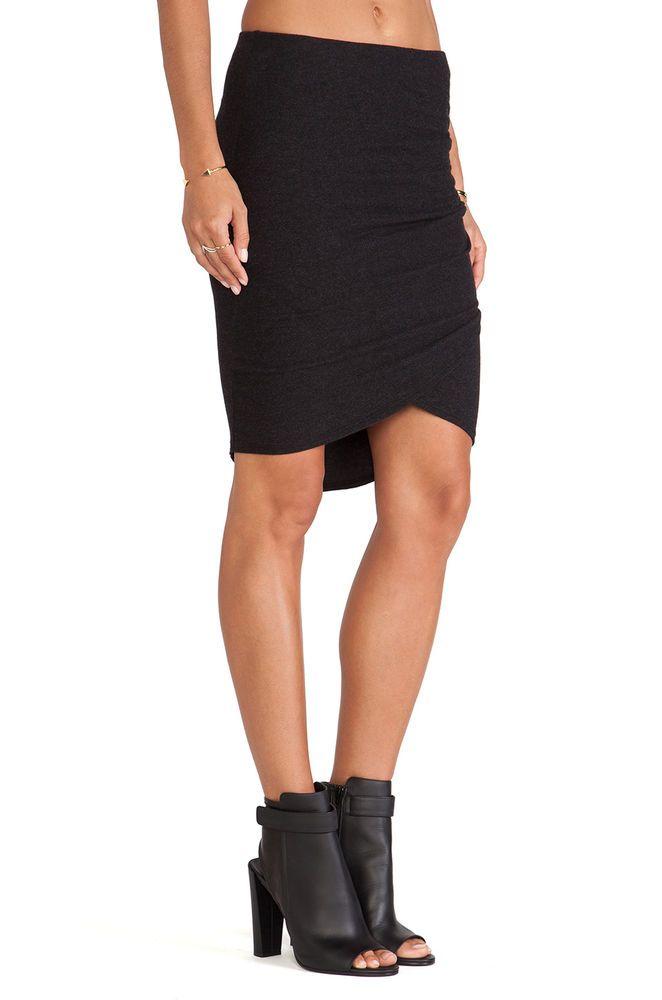 NWT James Perse Black Tulip Hem Ruched Stretch Jersey Wrap Skirt 2 M $175 #JamesPerse #Asymmetrical