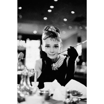 "Audrey Hepburn Poster - Breakfast at Tiffany's in Black/ White (24x36"").Opens in a new window"