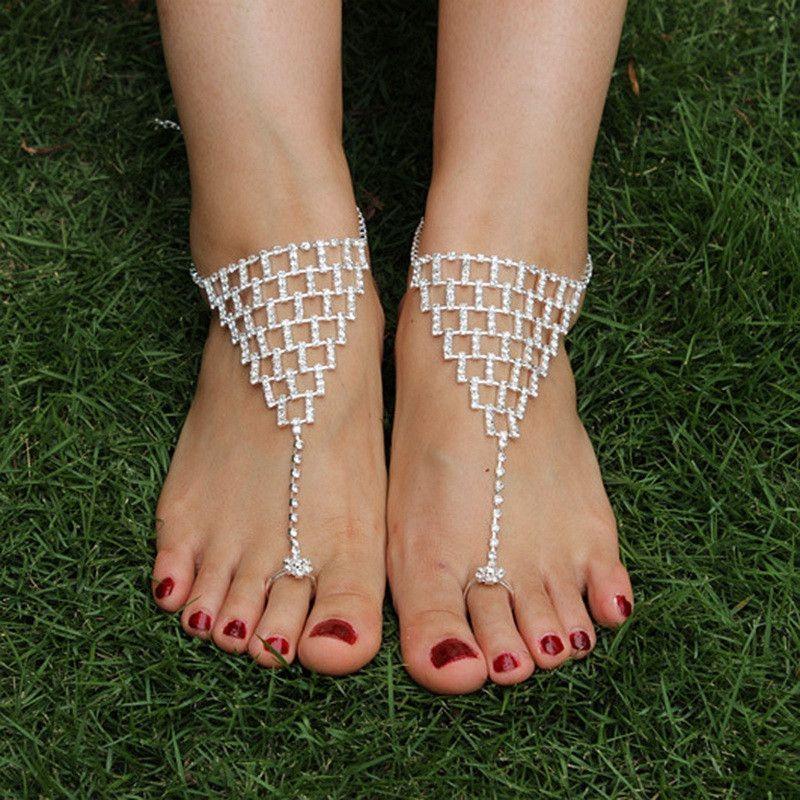 Triangle Rhinestone Wedding Barefoot Sandals Shoes