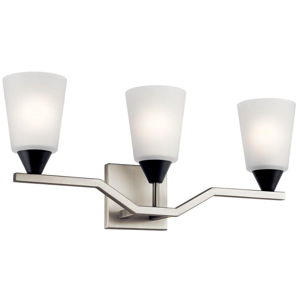 Photo of Kichler Lighting Skagos 3-Light Vanity Light Brushed Nickel, Gray