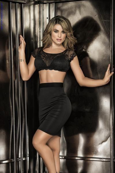 06493086315b8 Sexy Black Patterned Lace Crop Top   High Waist Skirt Dress Set ...
