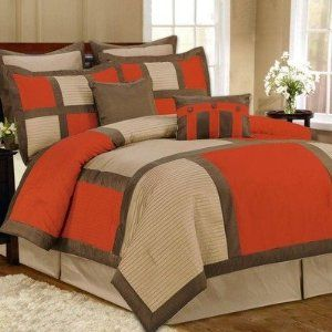Robot Check Comforter Sets Bedding Sets Brown Bed