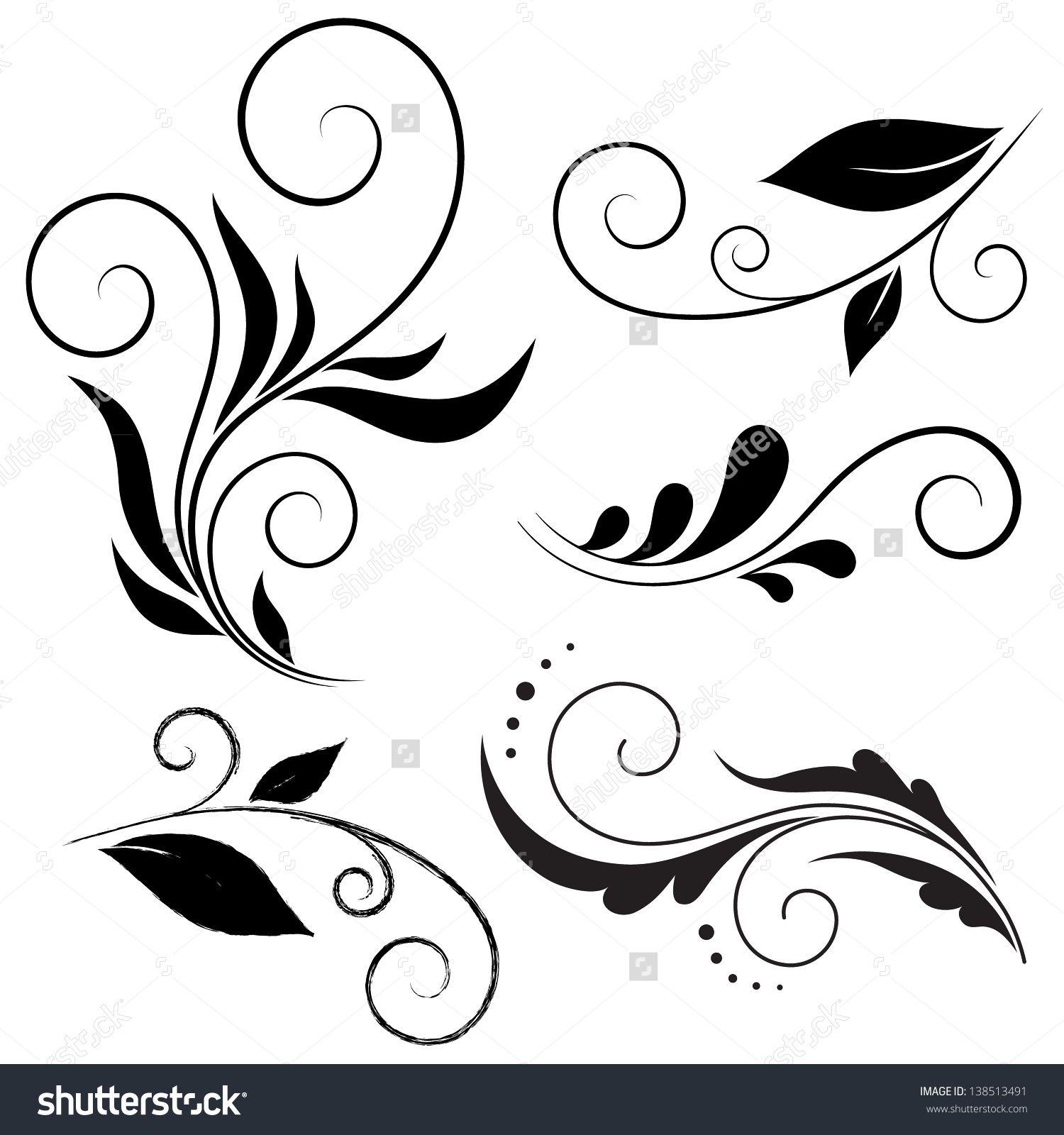 Calligraphic Design Elements Blumenschablonen Blumenzeichnung Ornamente Vorlagen