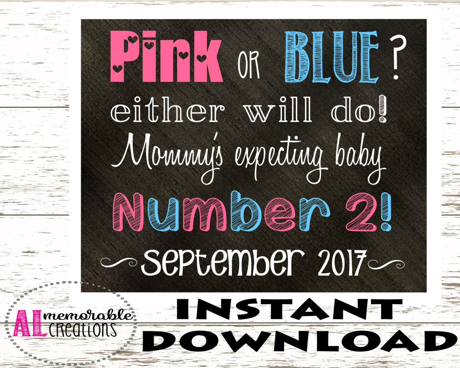 Pregnancy Announcement Photo PropPink or BlueMommys Expecting – Expecting Baby Announcement