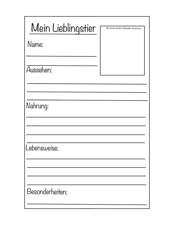 Steckbrief Lieblingstier Vorlage Unterrichtsmaterial