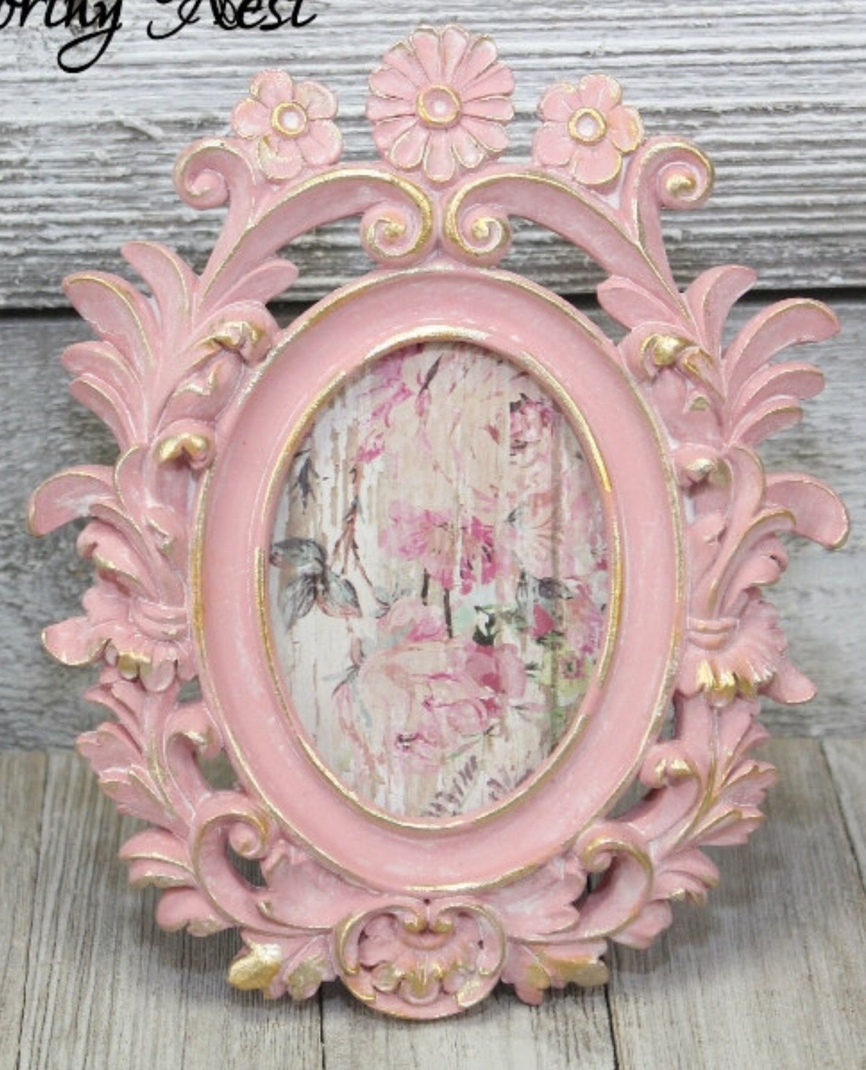 Ornate frame painted a victorian pink with brushed gold accents and ...