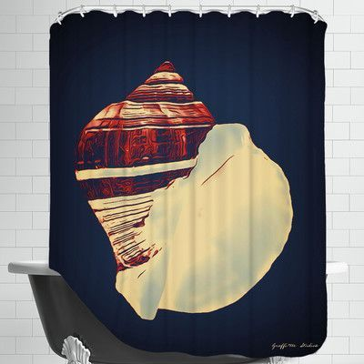 Americanflat Fiber Conch Shower Curtain Color: