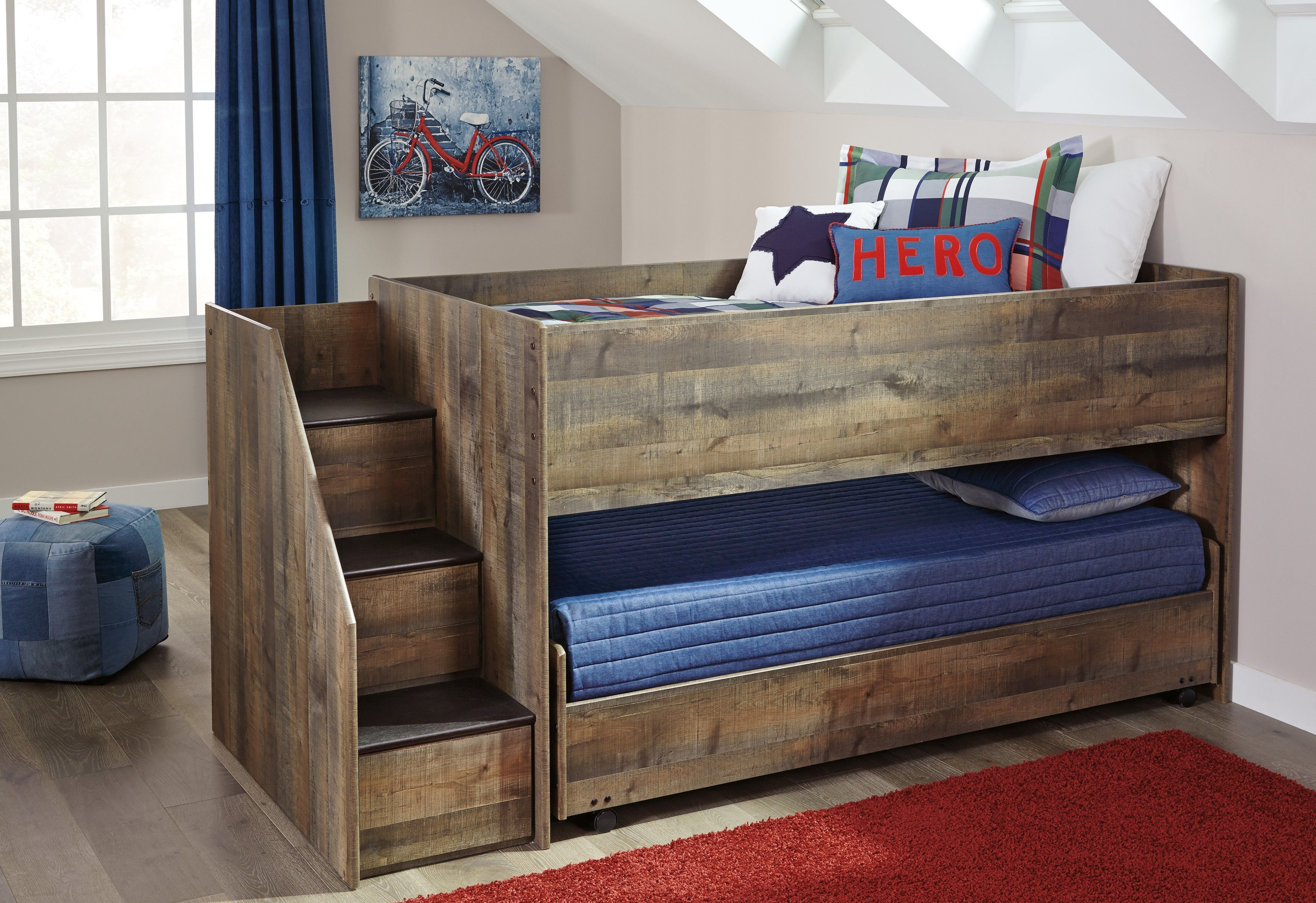 Ashley Trinell Brown Left Storage Steps Twin Loft Bed With Caster Bed Twin Loft Bed Low Loft