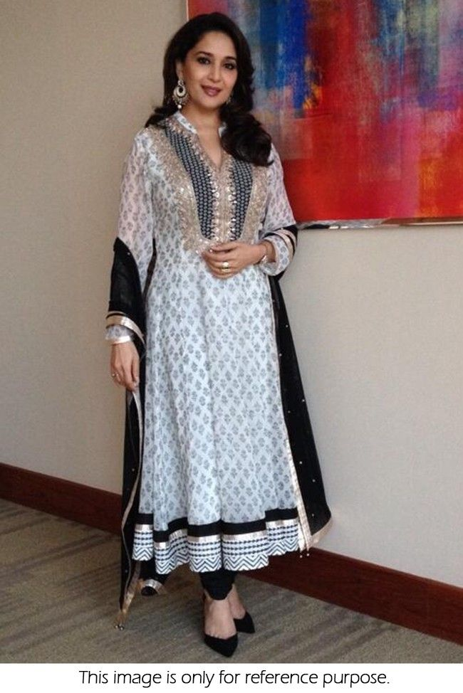Bollywood Style Madhuri Dixit Georgette Suit In Off White and ...