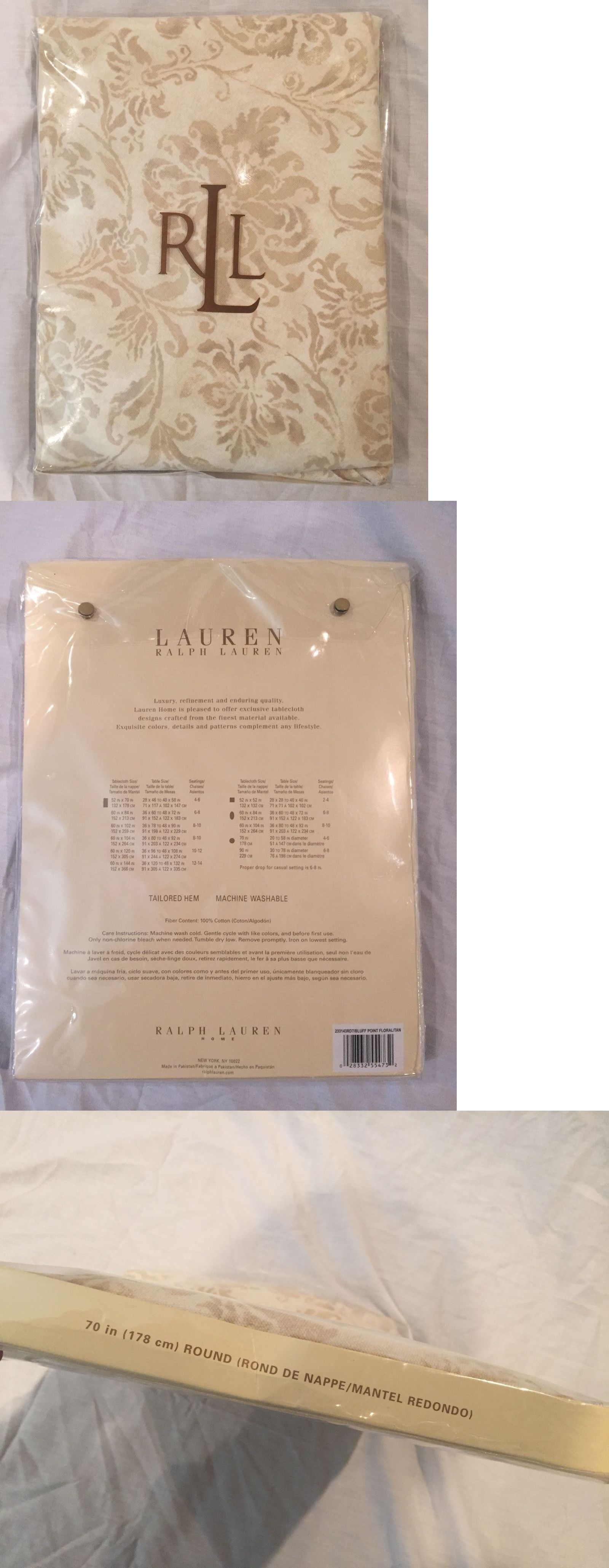 Amazing Ralph Lauren Table Linens Part - 13: Table Linen Sets 71238: Nip Lauren Ralph Lauren Bluff Point Floral Tan 70  In Round
