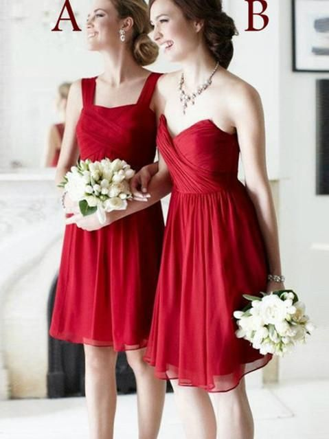 851f92b11353 A-line Square /Sweetheart Knee Length Chiffon Red Bridesmaid Dresses HX0013  #bridesmaiddresses #red #shorts #square