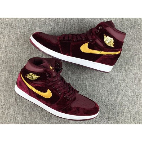 2017 Air Jordan 1 GS High Velvet Night Maroon Shoes