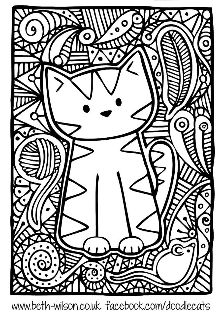 Free coloring page «coloring-adult-difficult-cute-cat». | Awesome ...