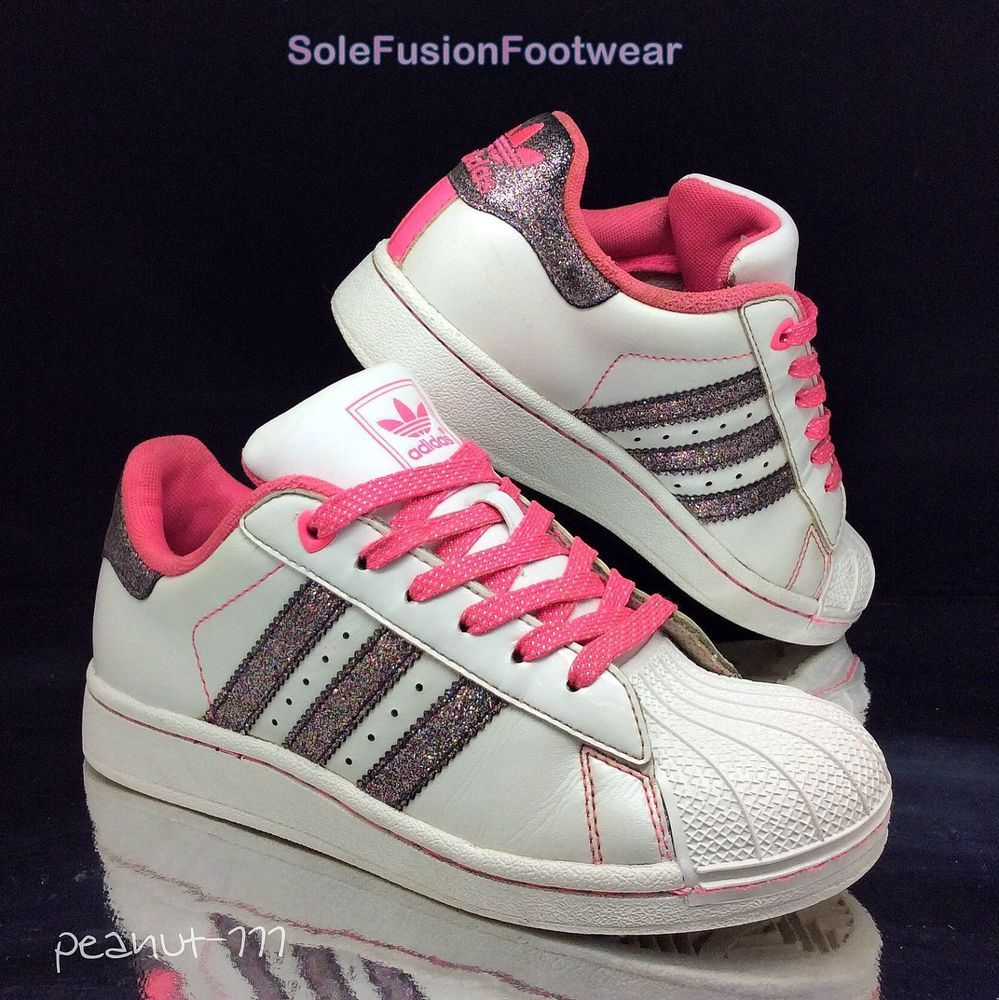 online retailer edff0 13d01 adidas Girls Superstar Glitter Trainers WhitePink sz 1 Kids Sneakers US  1.5 33  eBay