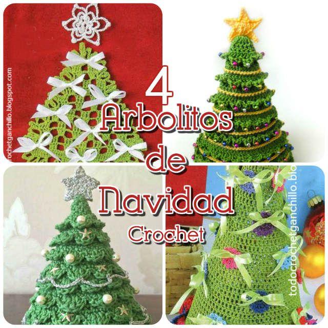 Todo crochet 4 Arbolitos de Navidad para tejer al crochet cosas - cosas de navidad