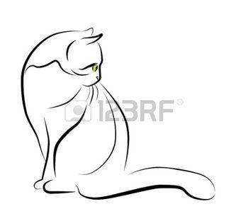 Silhouette chat illustration de contour de chat assis - Dessin chat assis ...