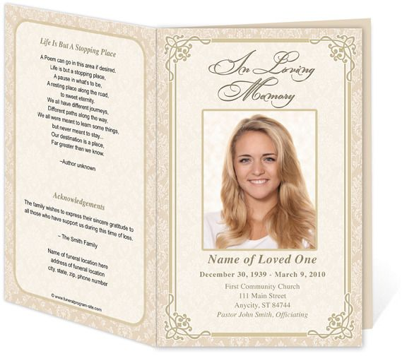 Download Edit Print - Ready Made Program funeral program - memorial service template word