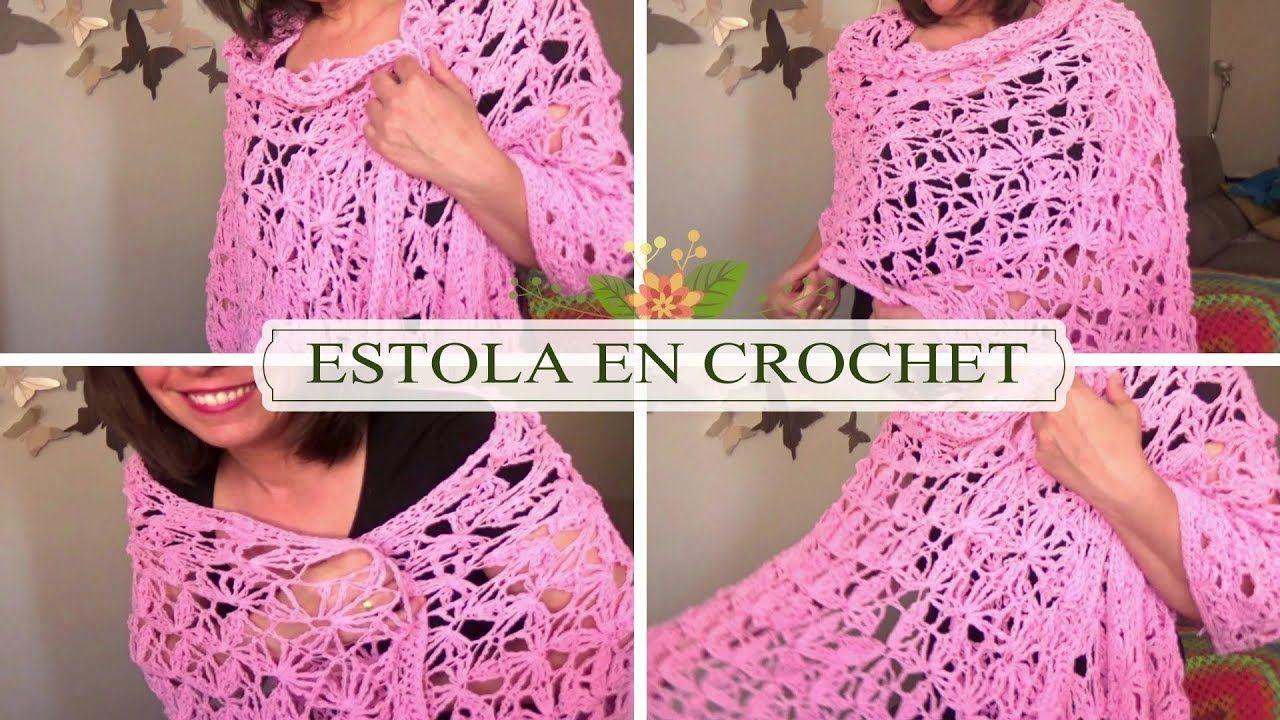 CHAL /ESTOLA RECTANGULAR DE FLORES EN CROCHET |GANCHILLO FACIL ...