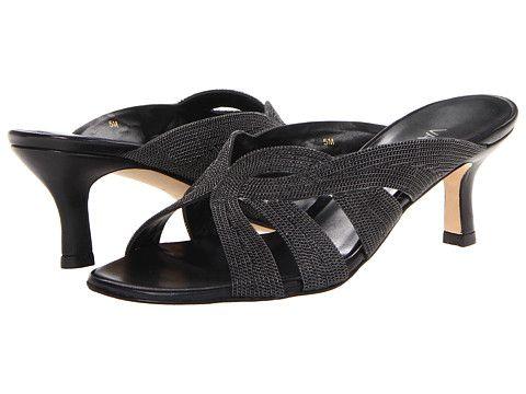 Womens Shoes Vaneli Milka Black Nappa/Pewter Chain