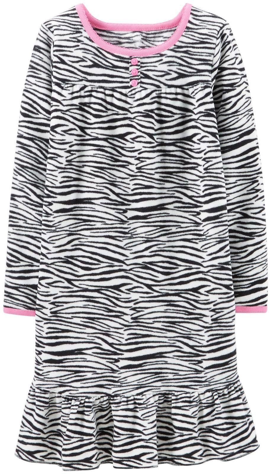 35c5efbf5fb3 Carter s Little Girls  Fleece Nightgown (Toddler Kid) - Zebra - 4-5 ...