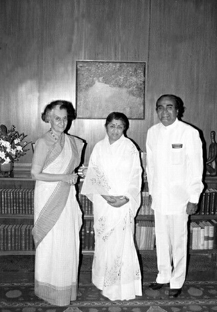 September, 1984The Prime Minister, Smt. Indira Gandhi with the Minister of State for Steel and Mines, Shri N.K.P. Salve and the former Indian film singer, Lata Mangeshkar, when they called on her in New Delhi on September 24, 1984.