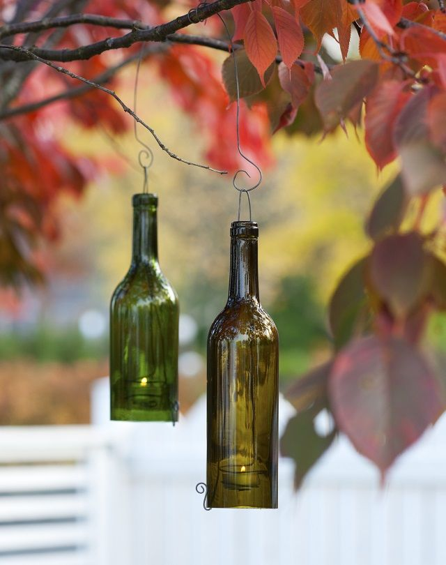 Kynttilälyhty viinipullosta - kierrätä vanhat lasipullot ja tee itse puutarhan tunnelmanluoja!