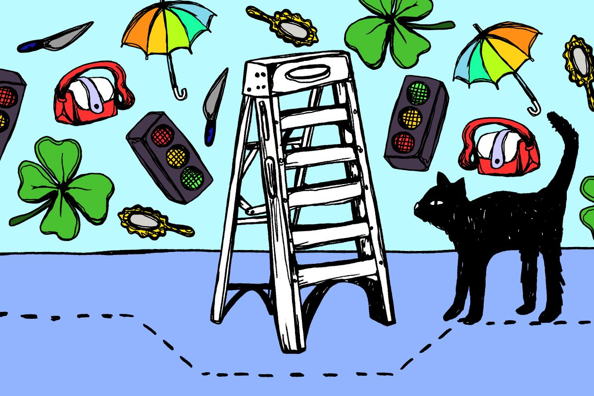 People have superstitions in 2020 Walking under a ladder