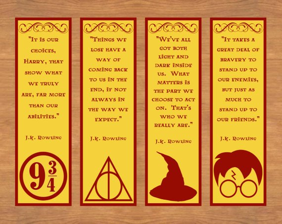 photograph about Printable Harry Potter Bookmarks known as Printable Bookmarks, Harry Potter Bookmarks, Printable Quotation