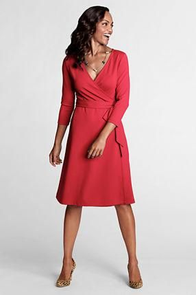 Women's 3/4-sleeve Knit Faux Wrap Drapey Ponté Dress from Lands' End