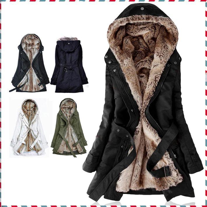 Thick Faux fur lining women's fur Hoodies winter warm long fur ...