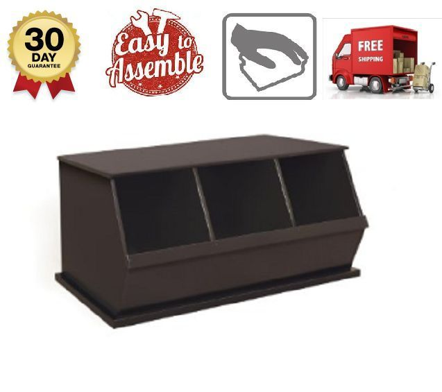 Three Bin Stackable Storage Cubby In Espresso Wood Non-Toxic Painted Stability  #ThreeBIn