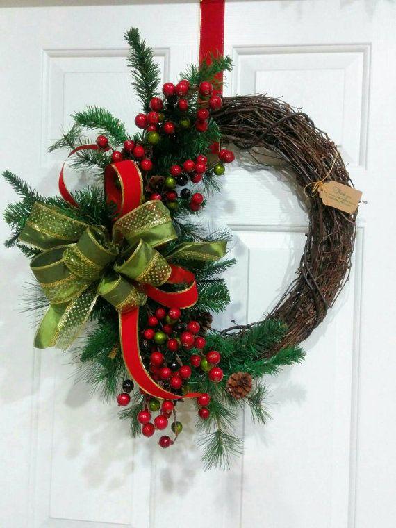 navidad vid rstico berry berrry corona corona guirnalda de - Guirnaldas Navidad