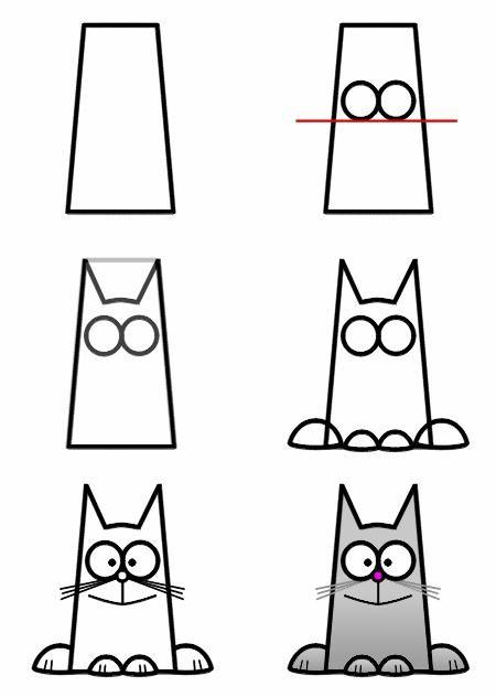 Kat Tekenen Met Kleuters Kvadratnyj Koshak Malen Und Zeichnen Figuren Zeichnen Kinder Zeichnen