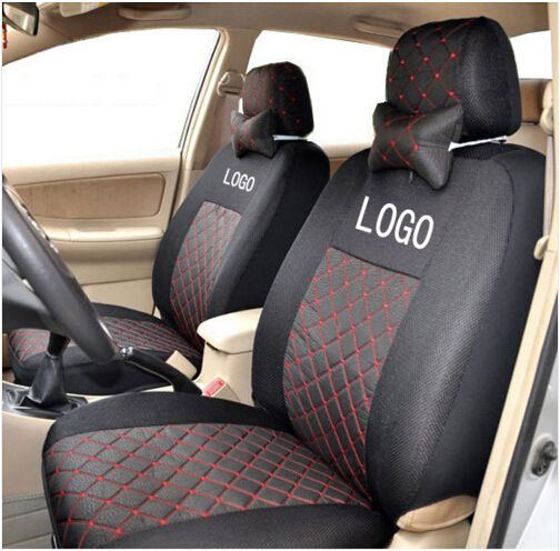 Grey/red/black Silk Breathable Embroidery Logo Car Seat