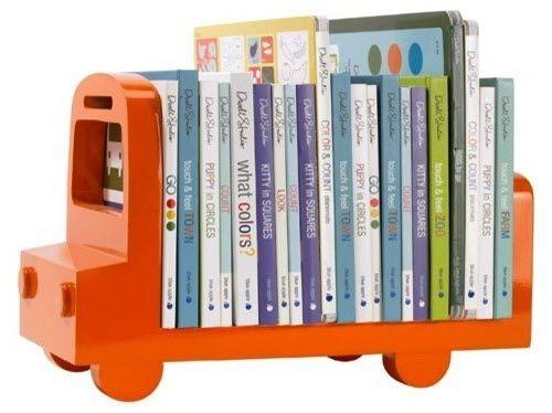 rangement livre pour enfant en forme de camion orange