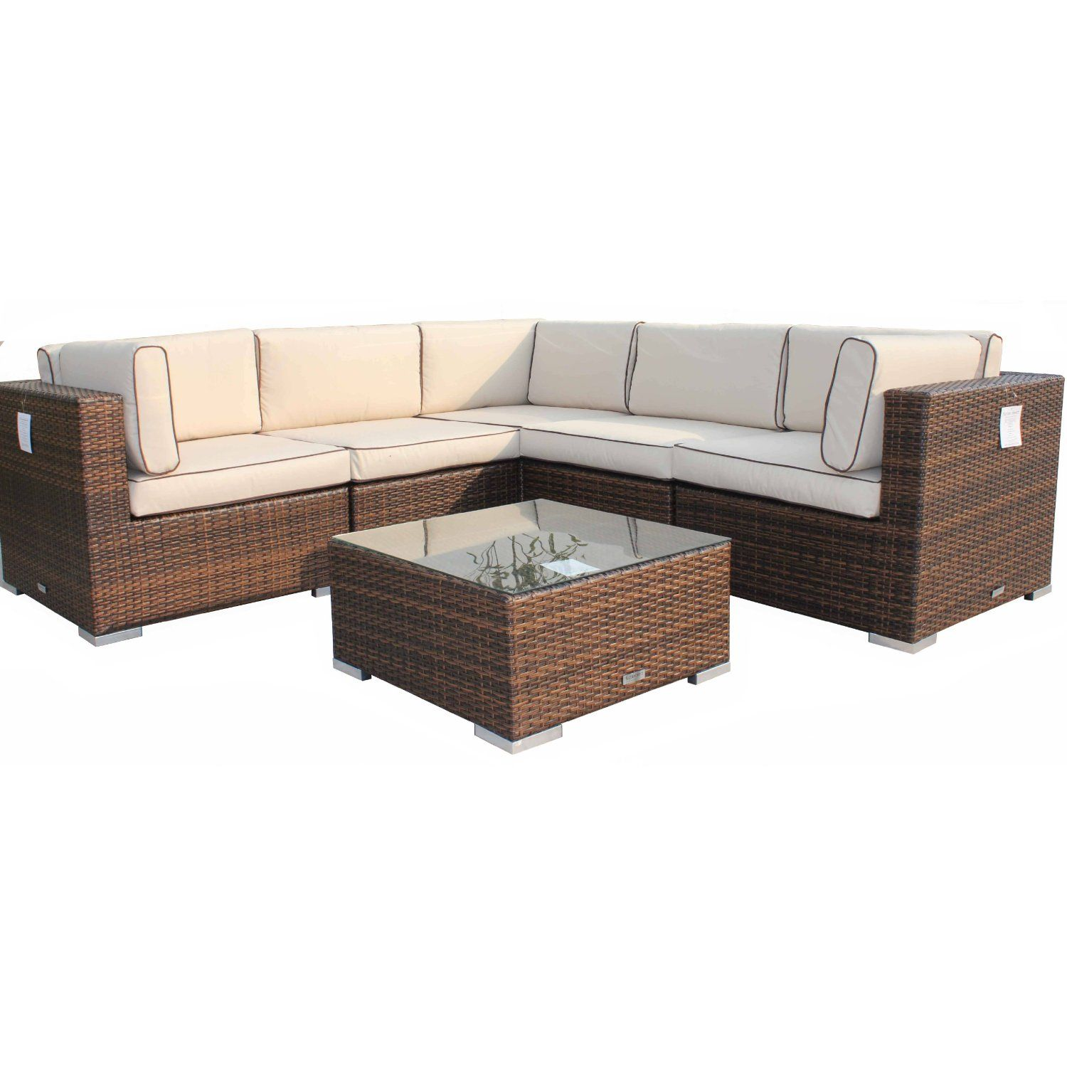 Rattan Garden Furniture AllWeather 6 Piece Florida Corner Suite