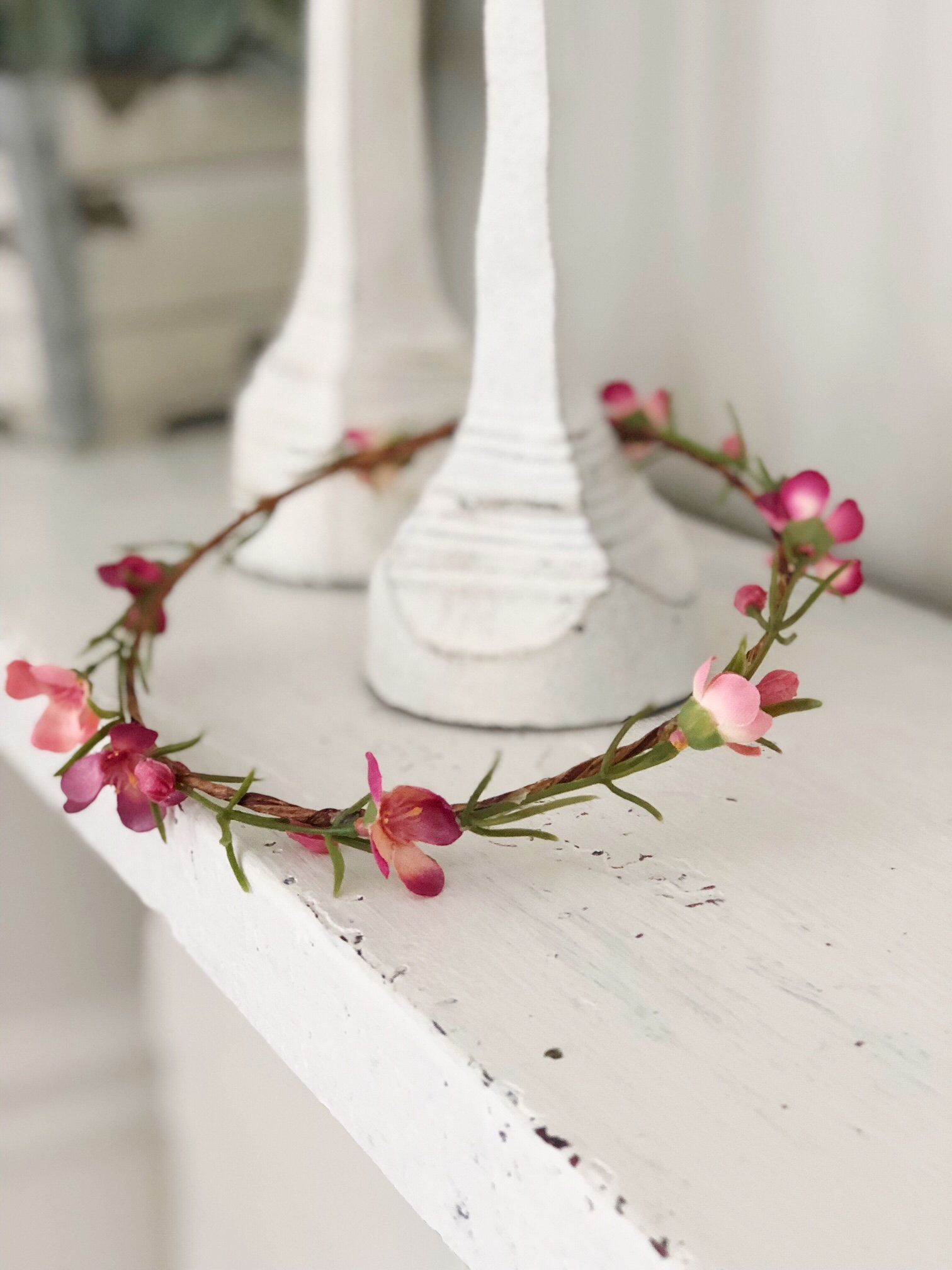 Pink Natural Flower Crown Infant Child Woodland Flower Halo Newborn