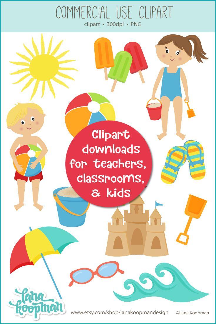Summer beach day clipart download by lana koopman design