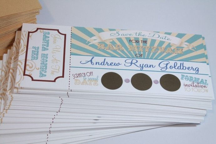 Wedding or bar mitzvah scratch off save the date for carnival or circus theme via divagonedomestic.com