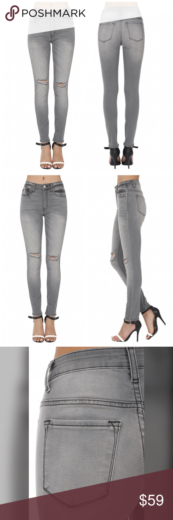 Kancan Jeans High Rise Faded Gray Size 27 84 9 Cotton Algodon 14 Polyester Poliester 1 1 Spandex Elastano Ris Clothes Design High Jeans Fashion Design