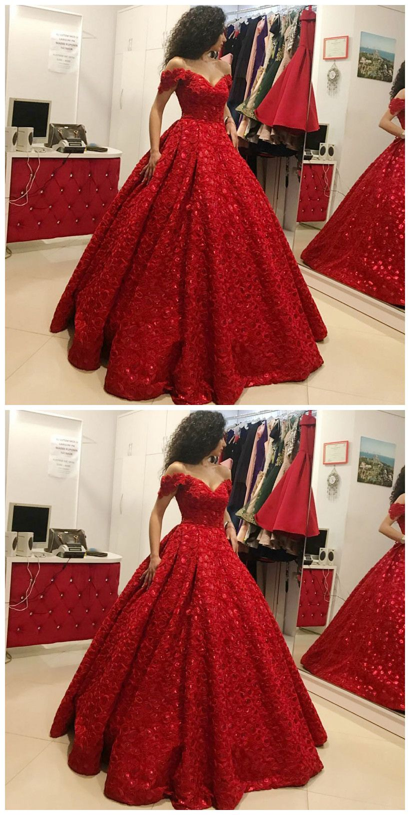 Ball Gown Off The Shoulder Floor Length Red Satin Prom Dress On