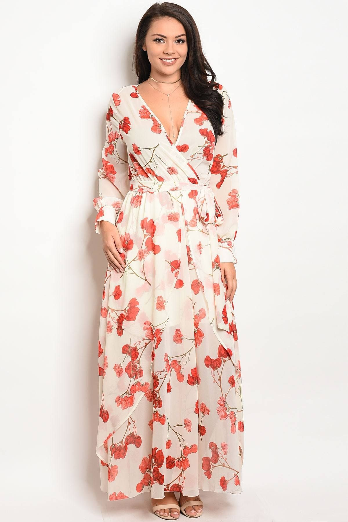 Ladies fashion plus size long sleeve printed chiffon maxi dress with