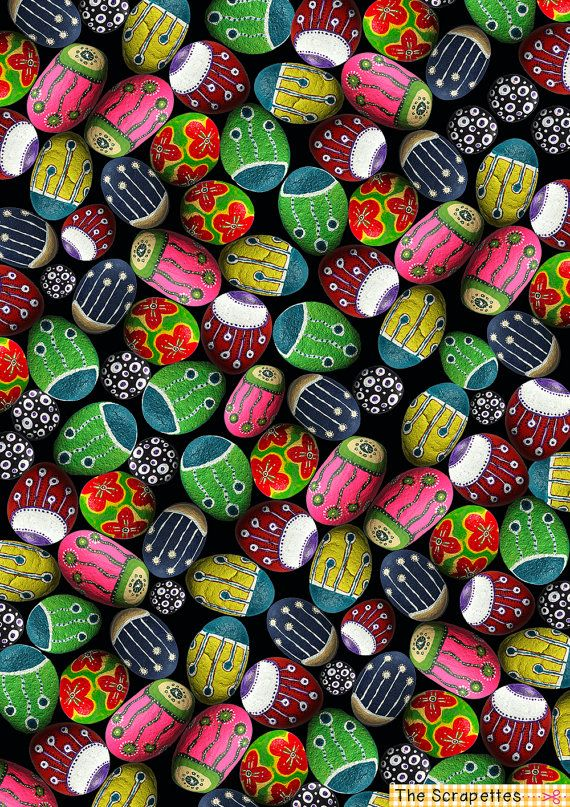 Bright Pretty Painted Pebbles Hand Painted Digital Paper