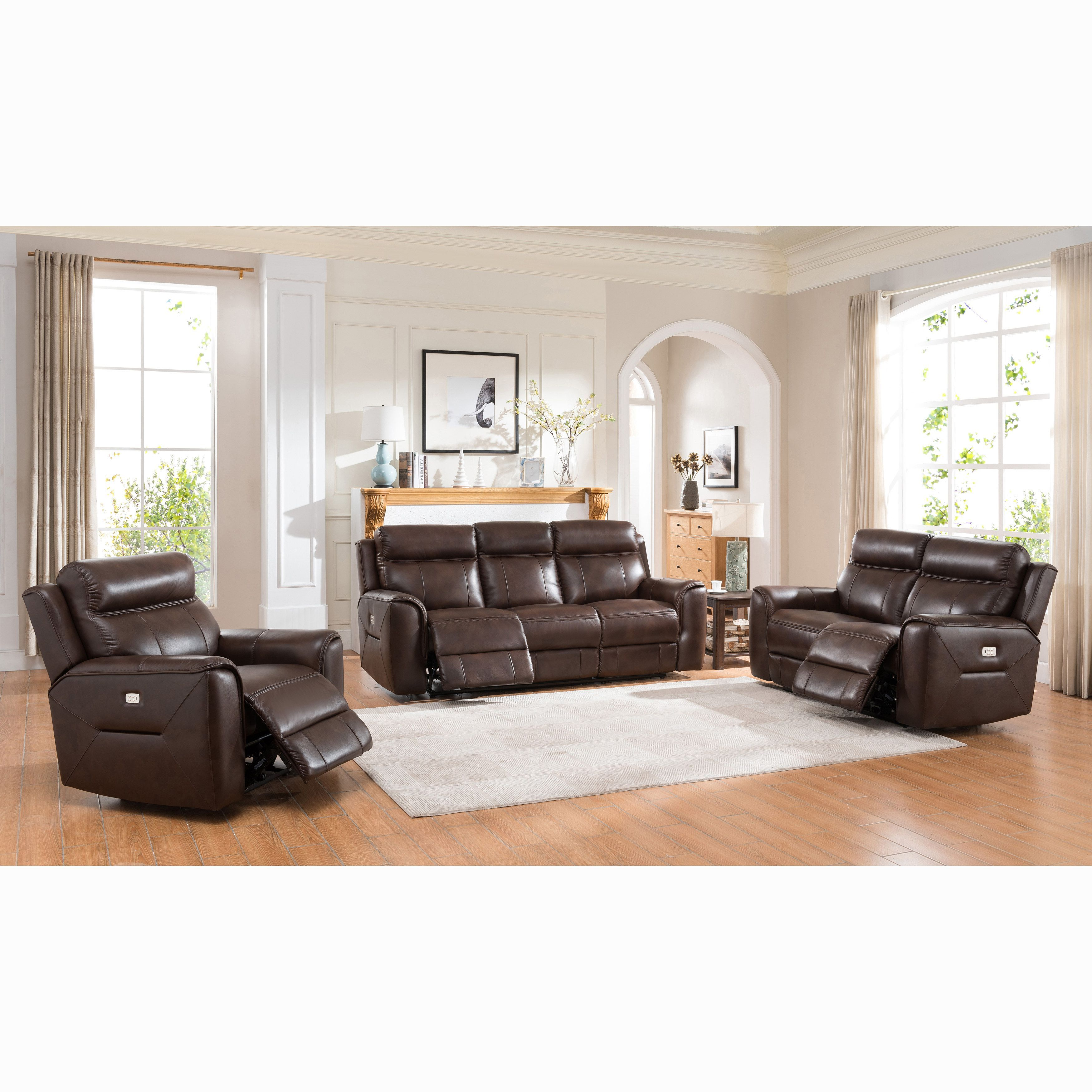 Beau Taft Brown Top Grain Leather Power Reclining Sofa, Loveseat And Chair