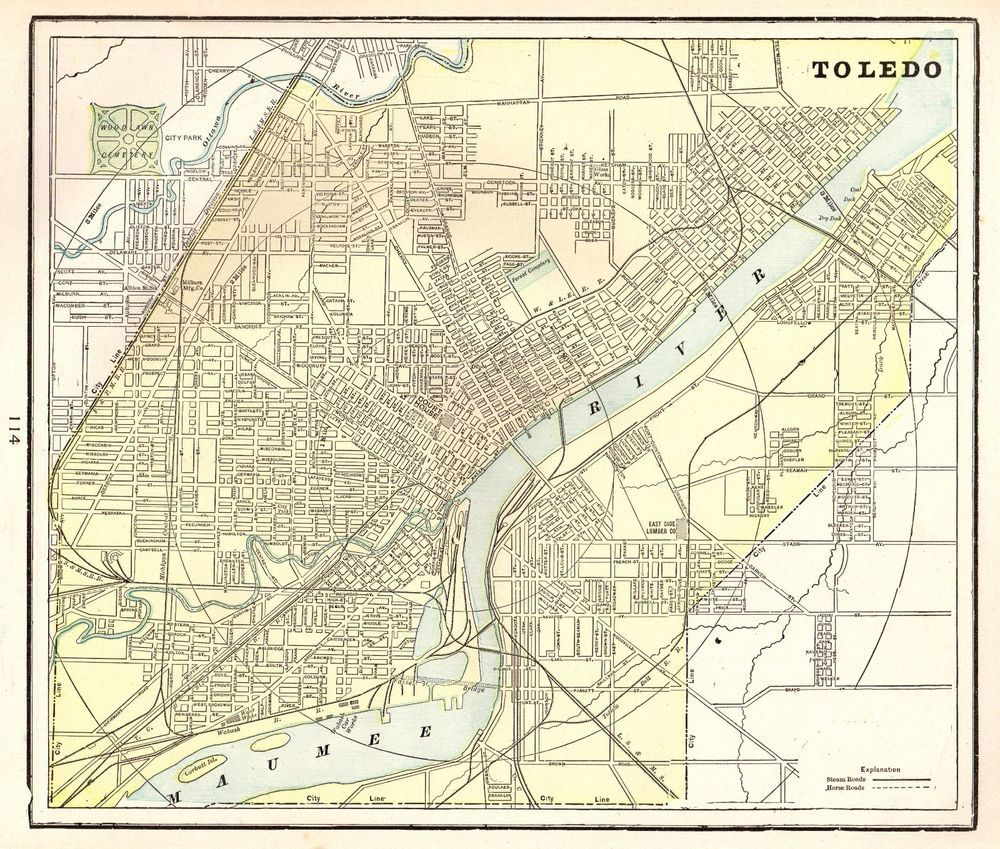 1901 Antique TOLEDO OHIO Map Vintage Collectible Map of Columbus