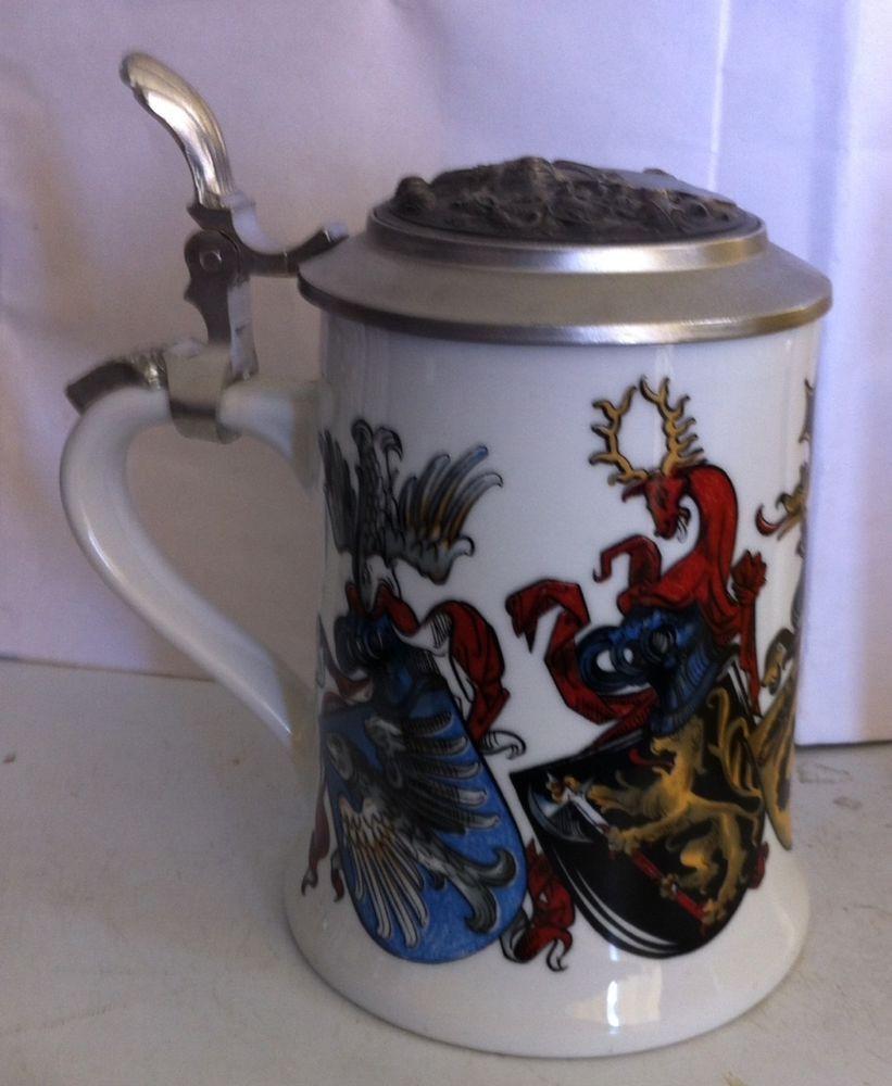 Rare Original MF Zinn German Stein Mug Pewter Lid Angel Mark Collectible