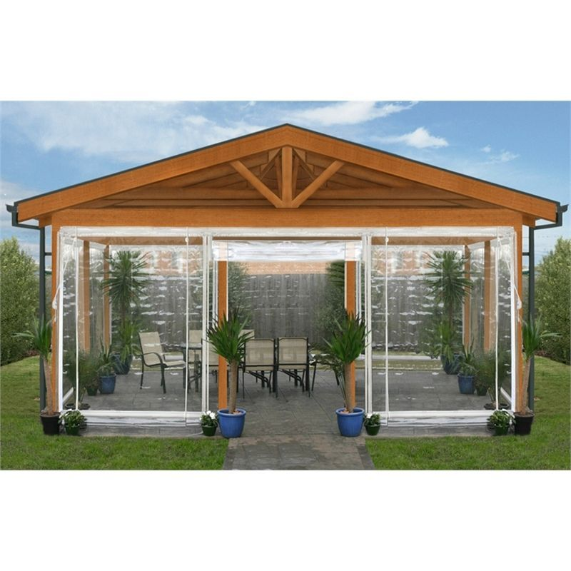 Smart Home Products 240 X 240cm Clear Pvc And White Blind Outdoor