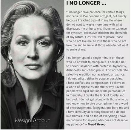 Meryl Streep Famous Quotes i no longer | snopes.com: Meryl Streep on Patience