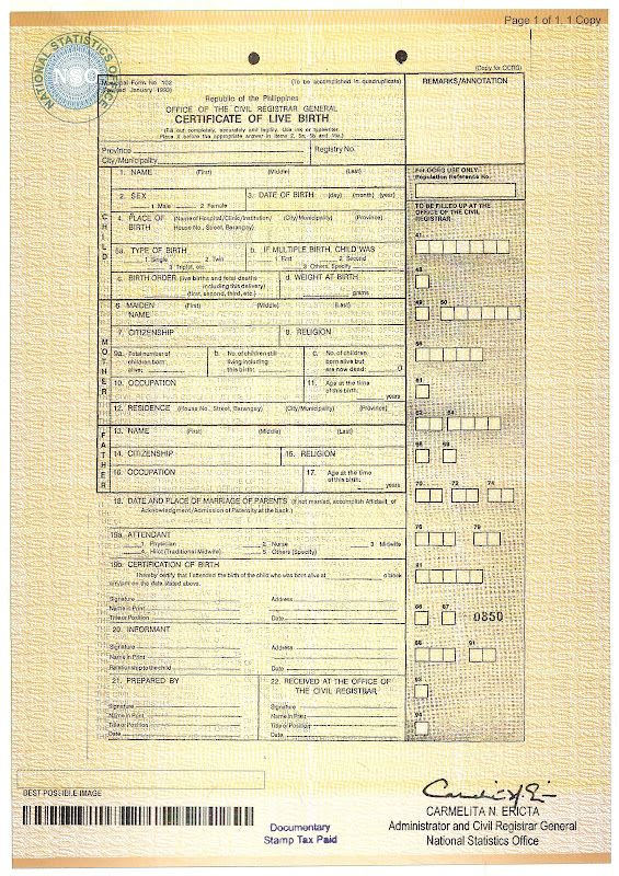 Document Number On Birth Certificate In 2020 Nso Birth
